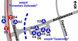 Schemat rozmieszczenia przystanków w zespołach Esperanto i Cmentarz Żydowski