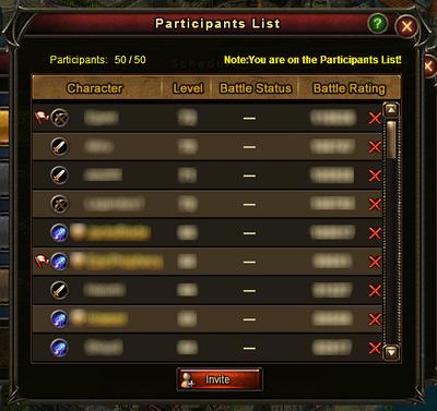 Guild Battle Participants List