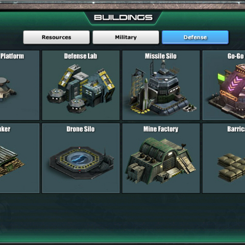 Defense Buildings<br />User Interface