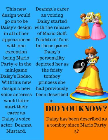 File:This new design would go on to be Daisy's design in all of her appearances with one exeption being Mario Party-e in the minigame Daisy's Rodeo. (1).jpg