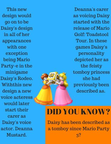 File:This new design would go on to be Daisy's design in all of her appearances with one exeption being Mario Party-e in the minigame Daisy's Rodeo..jpg