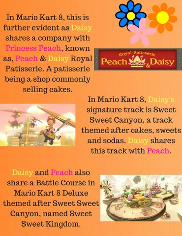 File:In Mario Kart 8, this is further evident as Daisy shares a company with Princess Peach, known as, Peach & Daisy Royal Patisserie. A patisserie being a sh0p, commonly selling cakes..jpg