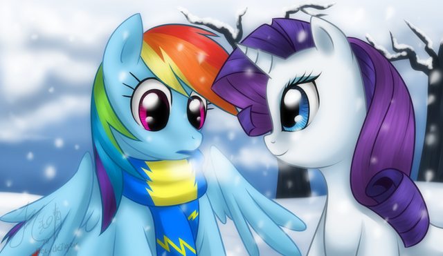 File:51855 - artist-recycletiger rainbow dash rarity scarf snow.png