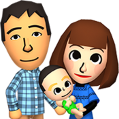 Two married miis, holding a baby.