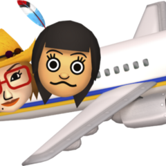 Two miis traveling in an airplane.