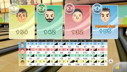 Final scoreboard from online game of bowling in Wii Sports Club