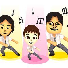 Three miis performing a Techno song.
