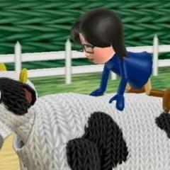 A Mii riding a Cow
