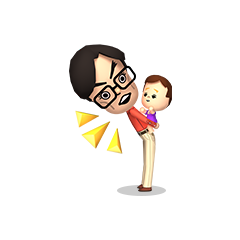 A male Mii caring for a baby.