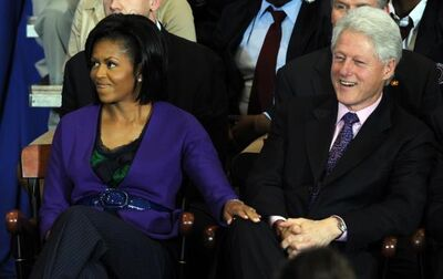 Lady Obama and Bill Clinton