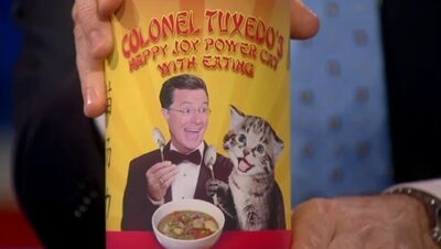 Colonel tuxedos happy joy power cat with eating