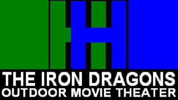 Iron dragons outdoor movie theater logo
