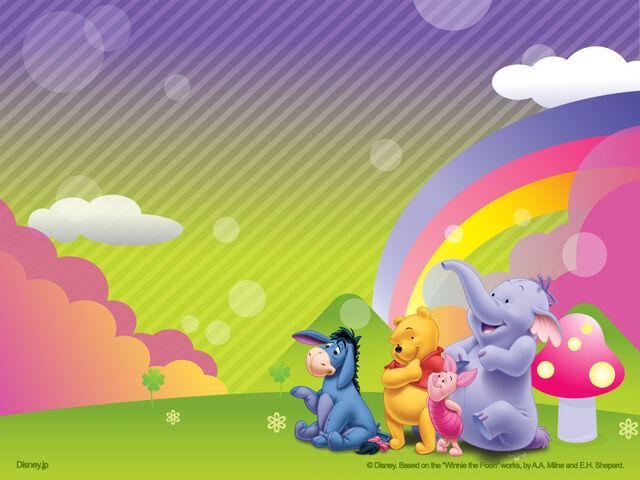 File:Pooh Wallpaper - Rainbow, Eeyore, Pooh, Piglet and Lumpy.jpg