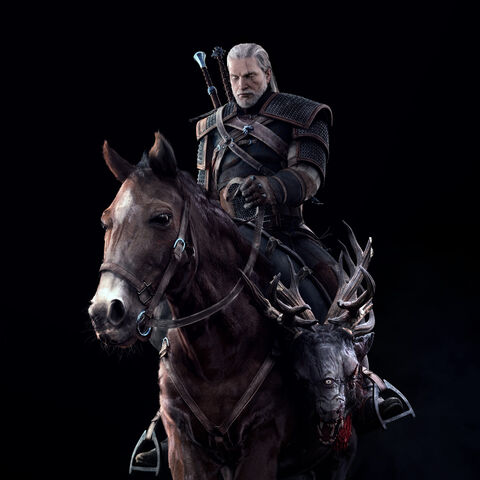 The Witcher 3 full render Geralt and Roach