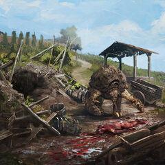 Concept art showing an escaped Shaelmaar wreaks havoc across the Toussaint countryside.
