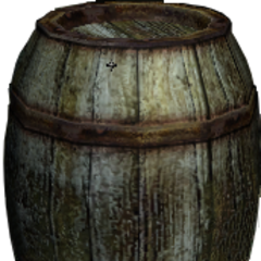a barrel<br />the most common container