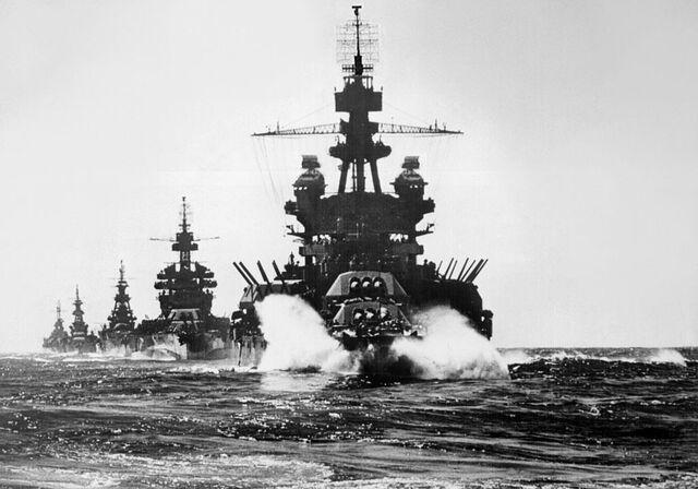 File:US Battleship Detachment, Lingayen Gulf, 1945.jpg