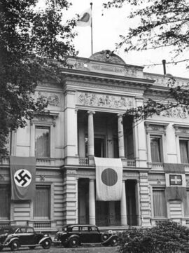 The flags of Germany, Japan, and Italy on the Japanese embassy in Berlin, September 1940