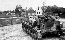 SU-76 fighting in a town in Germany, April 1945
