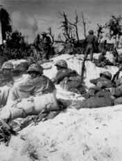 Marines resting after landing, Peleliu 1944
