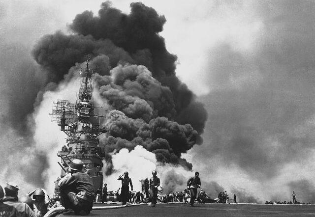 File:USS Bunker Hill burning after two Kamikaze hits, Okinawa 1945.jpg