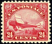 DeHavilland Biplane stamp 24c 1923 issue