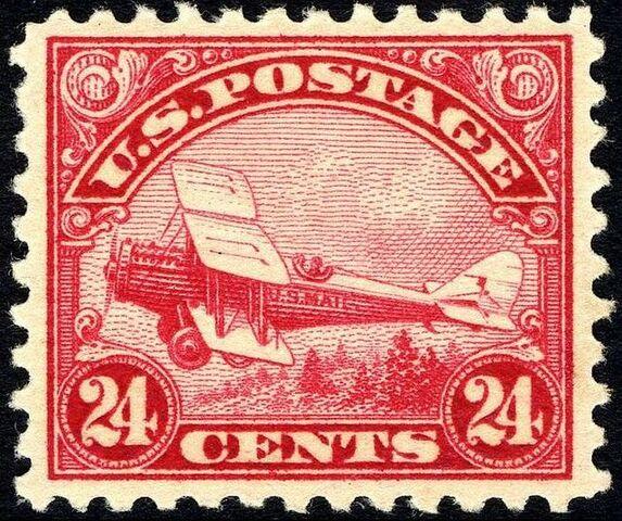 File:DeHavilland Biplane stamp 24c 1923 issue.JPG