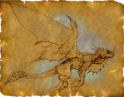 Dragon flying sketch on parchment