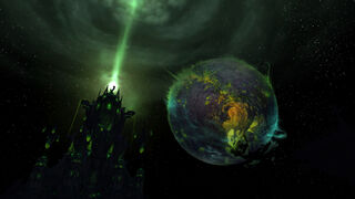 Argus seen over the Tomb of Sargeras