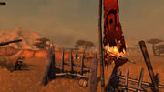Burning Horde banner in the Barrens