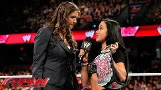 Raw - Stephanie McMahon calls into question AJ Lee's Divas Championship win at WWE Payback- June 13, 2013