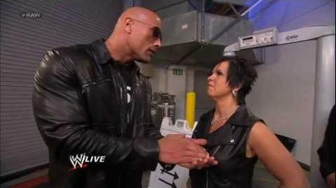 Vickie Guerrero confronts The Rock outside the HP Pavilion Raw, Jan 21, 2013