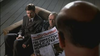 Skinner shows the article the Lone Gunmen were writing