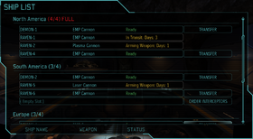 XComEU Hangar interceptor ship list interface