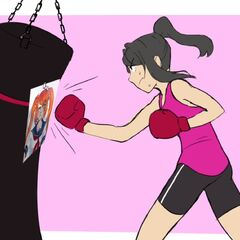 Yandere-chan punching a punching bag with Osana's face on it.