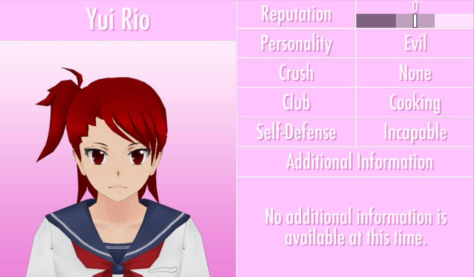 Image 6 1 2016 Yui Rio Profile Png Yandere Simulator