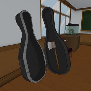 O machado dentro do estoço de violoncello.