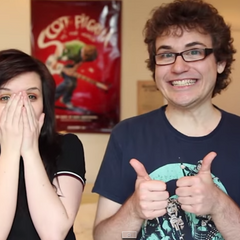 Dan with one of his YouTube inspirations/friends, Emma Blackery.