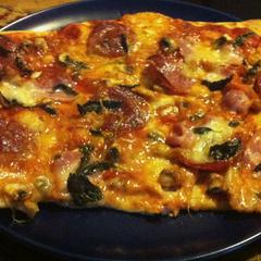Pork and salami pizza made by Chef Malm, so protessional.