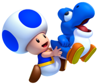 Baby Yoshi with Blue Toad