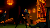 Sportsmaster fights guards