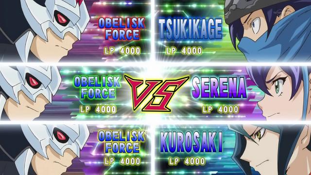 File:Tsukikage, Selena and Shun VS Obelisk Force.png