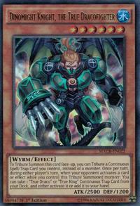 YuGiOh! TCG karta: Dinomight Knight, the True Dracofighter