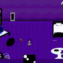 Mukuro's bedroom. The TV is used to save (Note the macbook)