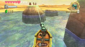 File:Skyward Sword Skipper's Motorboat Aiming the Motorboat's Cannon.png