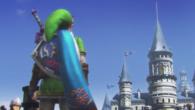 File:Hyrule Warriors Shining Beacon Link looking at Hyrule Castle after Cia's defeat (Cutscene).png