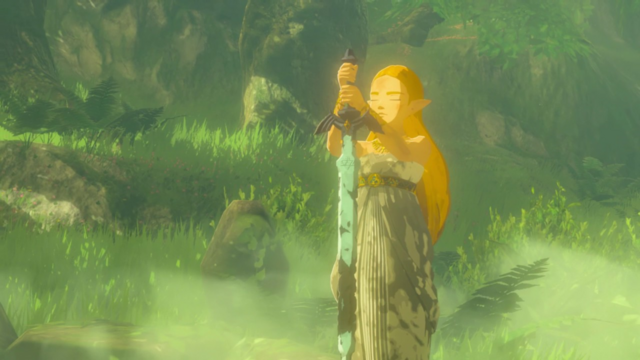 File:Breath of the Wild Blade of Evil's Bane Zelda holding the rusty Master Sword (Recovered Memory 18 Cutscene).png