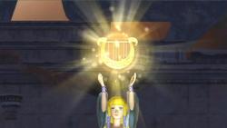 Zelda segurando a Harpa da Deusa