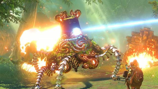 File:Breath of the Wild 2014 E3 Trailer Guardian Chasing Horseback Link (Screenshot).png