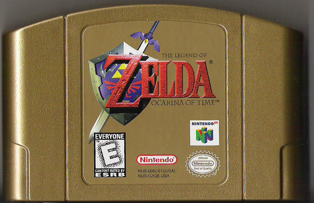 File:The Legend of Zelda - Ocarina of Time Gold Cartridge.png